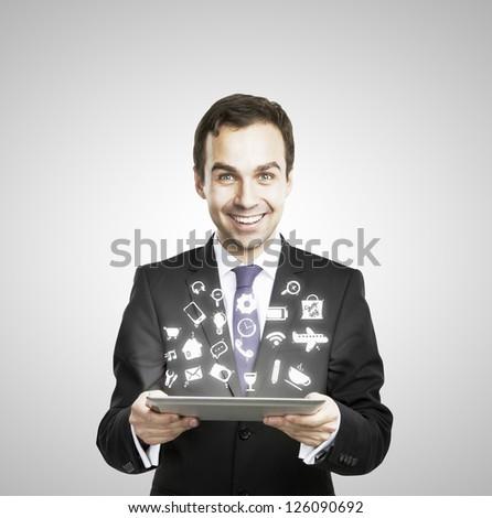 digital table in hand, social media icon