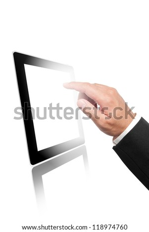 Digital tablet and business hand pointing