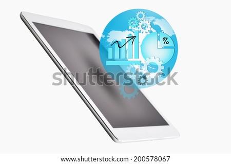 Digital tablet and media globalization concept