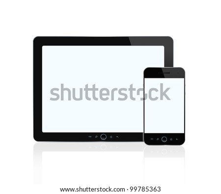 Digital tablet and smart phone isolated on white background with clipping path for the screens