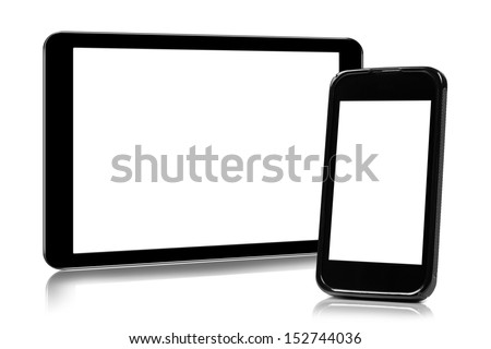digital tablet and smartphone isolated on white