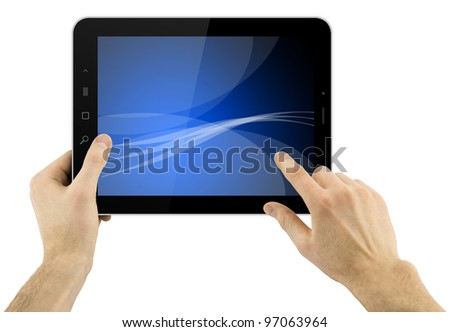 digital tablet computer with abstract blue wallpaper in hands over white background
