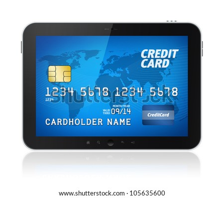 Digital tablet computer with credit card on screen. Electronic payments concept image. Isolated on white.