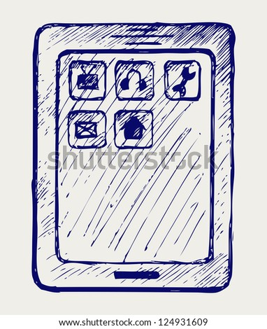 Digital tablet. Doodle style. Raster version