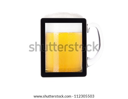 digital tablet full of of beer  with foam isolated on a white background