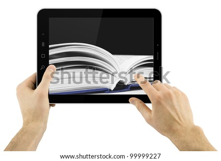 digital tablet in hands isolated over white background with book on a background