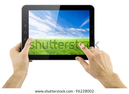 digital tablet in hands over white background with nature as wallpaper