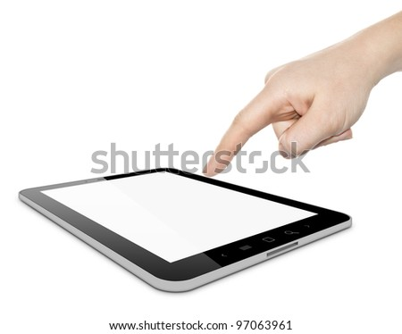 Digital tablet PC and woman hand pointing over white background