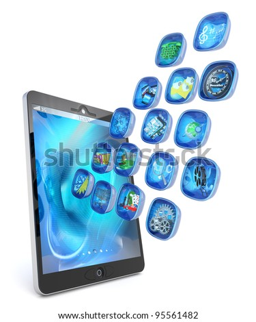 Digital tablet PC 3d applications isolated on white