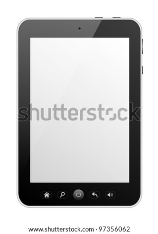 Digital tablet PC with blank screen isolated on white.