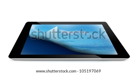 Digital tablet pc with cloudy sky on the screen, isolated on white background (Save Paths For design work)