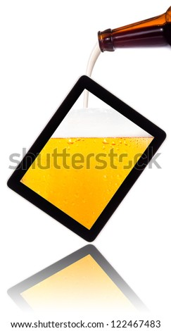 digital tablet with beer concept isolated on a white background