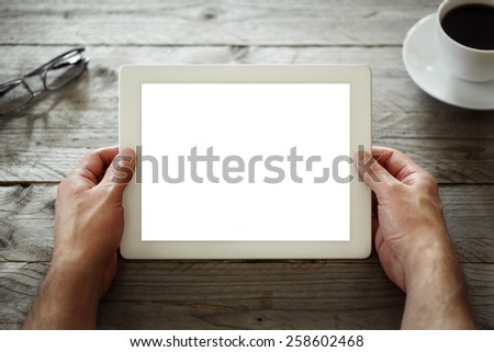 Digital tablet with blank screen in coffee shop cafe #258602468