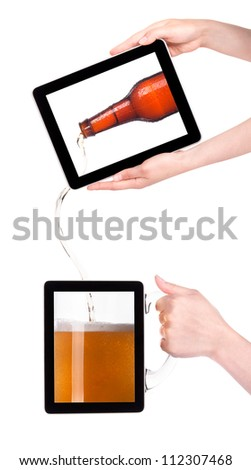 digital tablet with fresh beer pouring down from a bottle isolated on a white background