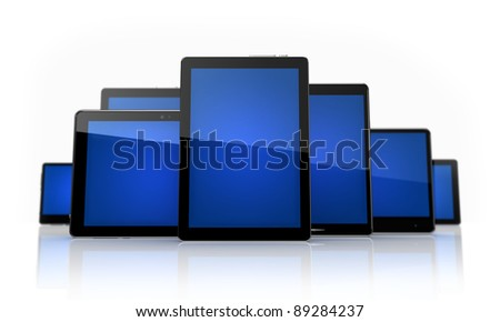 Digital tablets  with blue touchscreens on white