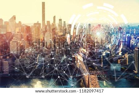 Digital Tech Circle with the New York City skyline near Midtown #1182097417