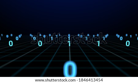 Digital technology big data and binary code running on grid line. Dolly shot and seamless loop of distancing digits. Render digital farm data and communication on network technology. Stock photo ©