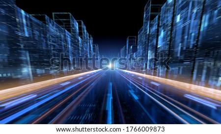 Digital technology city tunnel in 3D rendering shuttle