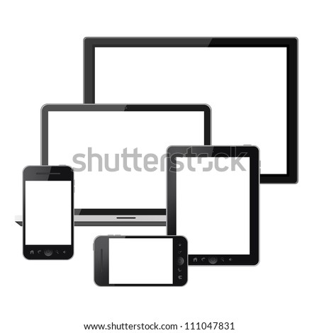 Digital technology devices isolated on white background