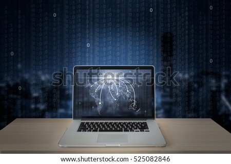 digital technology,world connetion in computer labtop screen with digital background
