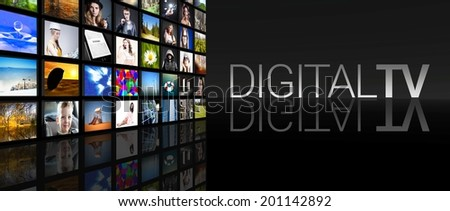 Shutterstock Digital television screens on black background