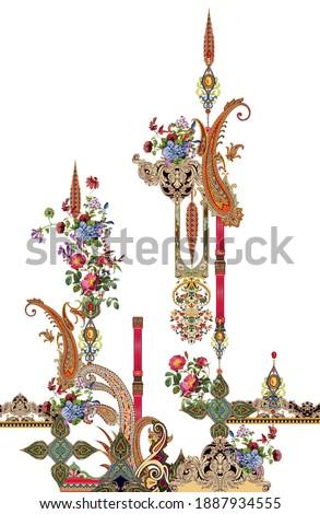 digital textile design Exquisite baroque paisley design, rococo design, suitable for textile clothing