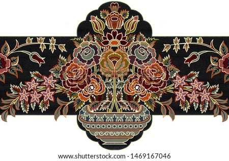 digital textile design flower and leave