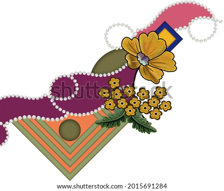 digital textile design with beautiful bunch and geometric border seamless and ethnic style