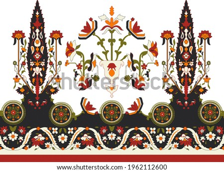 digital textile design with beautiful bunch decoration ethnic style and geometric border seamless and geometric motif