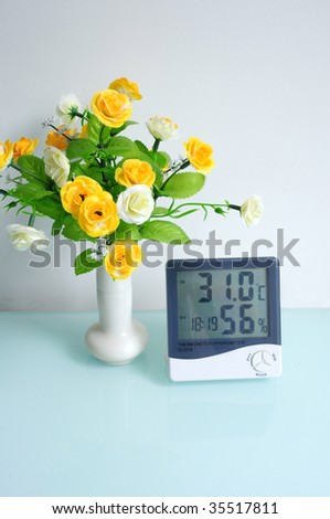 Digital thermometer with the hygroscope and clock.