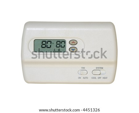 digital thermostat isolated on white background