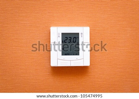 Digital thermostat on wall