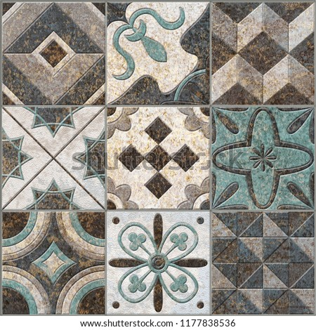 Digital tiles design. Abstract seamless patchwork pattern with geometric and floral ornaments, Vintage tiles intricate details for a decorative look.Ceramic paint floor, ornament Collection Patchwork