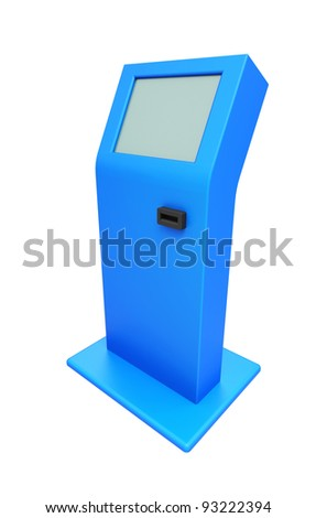 Digital touch screen blue terminal isolated 3d model