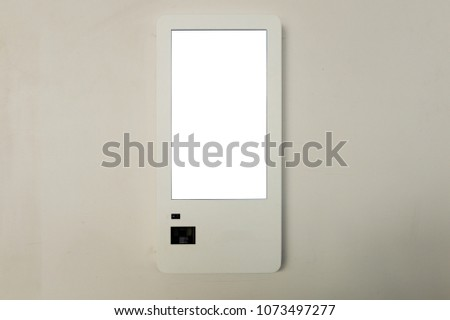 Digital touchscreen terminal, atm machine isolated  #1073497277