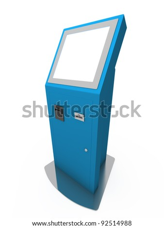 Digital touchscreen terminal isolated on white background