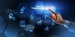 Digital Transformation and Digitalization Technology concept on Abstract Background.