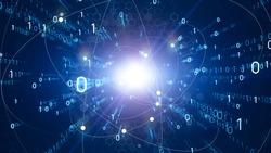 Digital transformation concept. Binary code. Programming. Quantum computer.