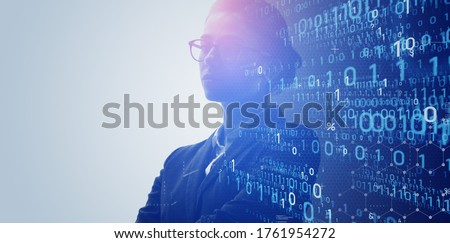 Digital transformation concept. Binary code. System engineer. Programmer.