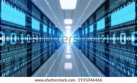 Digital transformation concept. Data center. Computer server. 3D rendering.