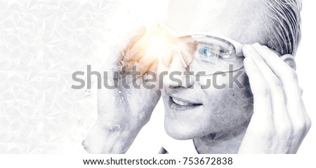 Digital transformation disruption every industry technology concept. Customer experience using smart glasses augmented reality with flare light effect.  #753672838
