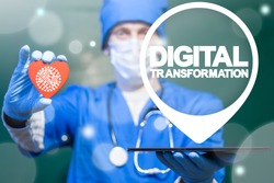 Digital Transformation Health Care concept. Doctor offers tablet pc with digital transformation location icon and heart with circuit board sign on a virtual interface. Medicine Digitalization.