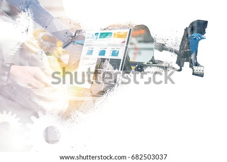 Digital transformation of internet of things (iot) technology disruption in world industrial to industry 4.0 concept. Graphic of Automated robot machine graphic , gears connect.