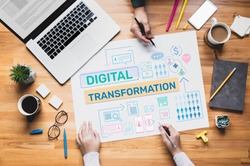Digital transformation or business online concepts with young person thinking and planning platform ideas.communication design.