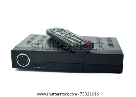 Digital TV on white background - stock photo