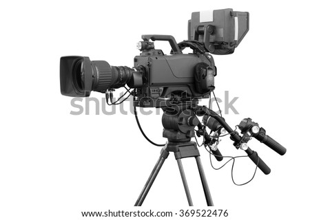 Digital video camera for use Television Professional studio isolated on white background with clipping path #369522476