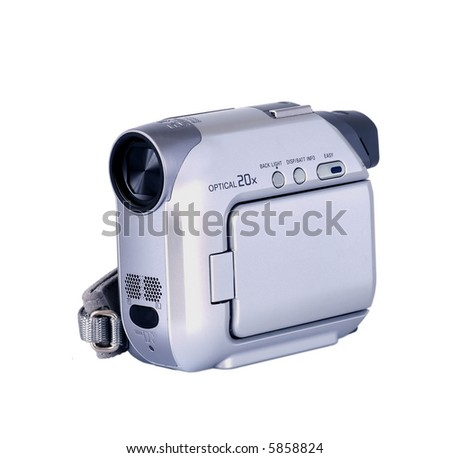 Digital video camera isolated on white