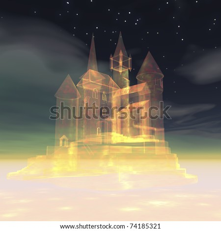 Digital visualization of a castle in the sky