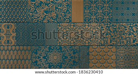 Digital Wall Tile Decor For Home, Ceramic Tile Design, Seamless colourful patchwork in Indian style, wallpaper, linoleum, textile, web page background - 3D Illustration