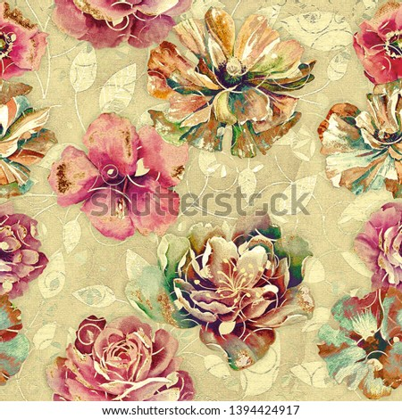 Digital wall Tile Design,wallpaper, linoleum, textile, webpage;seamless rose background pattern design; Heavily Mixed pink Flower Decor For Interior Home, Abstract Flower Wall Tilable Design for Home.